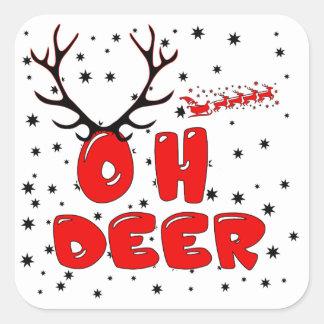 Sticker Carré Oh la conception de cerfs communs avec des cerfs