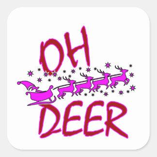 """Sticker Carré """"Oh les cerfs communs"""" conçoivent avec père Noël"""