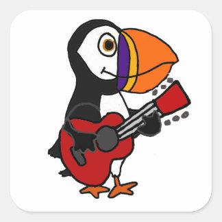 Sticker Carré Oiseau drôle de macareux jouant l'illustration de