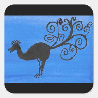 Sticker Carré Oiseau fantastique
