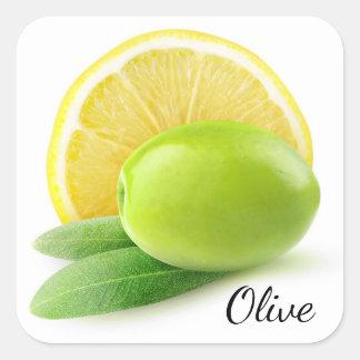 Sticker Carré Olive et citron
