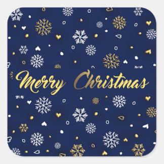 Sticker Carré Or de Joyeux Noël et flocons de neige blancs