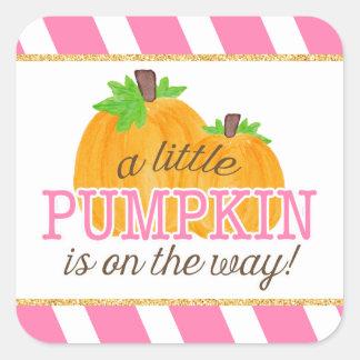 Sticker Carré Or de rayures de rose peu de baby shower d'automne