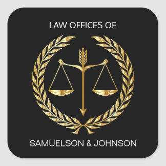 Sticker Carré Or personnalisé de noir d'échelle de justice