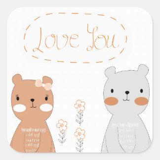 Sticker Carré Ours de nounours mignon de couples de valentine de