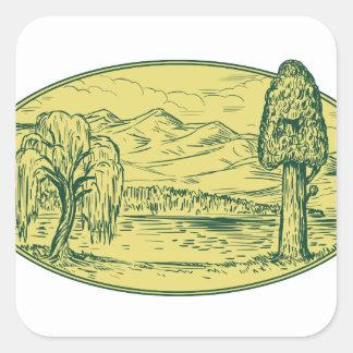 Sticker Carré Ovale Drawin de montagnes de lac tree de saule et