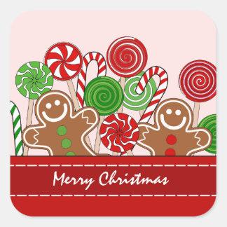 Sticker Carré Pains d'épice rouges mignons de Noël