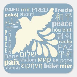 Sticker Carré PAIX dans beaucoup d'autocollants de langues