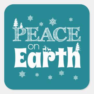 Sticker Carré Paix sur Noël de la terre