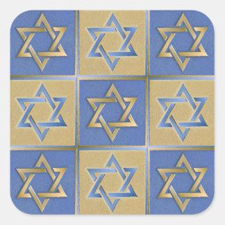 Sticker Carré Panneaux bleus d'art d'étoile de David d'or