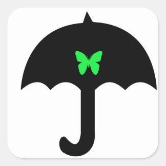 Sticker Carré Papillon dans le parapluie
