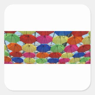 Sticker Carré parapluie coloré