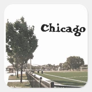 Sticker Carré Parc de Chicago dans des tons de sépia