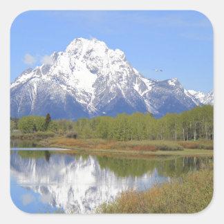 Sticker Carré Parc national grand de Mt. Moran Teton