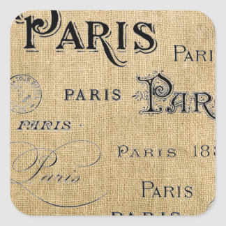Sticker Carré Paris sur la toile de jute