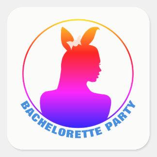 Sticker Carré Partie de Bachelorette de fille de lapin de Miami