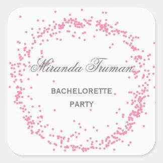 Sticker Carré Partie rose de Bachelorette de confettis -