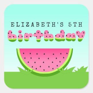 Sticker Carré Partie rose de pique-nique d'anniversaire de