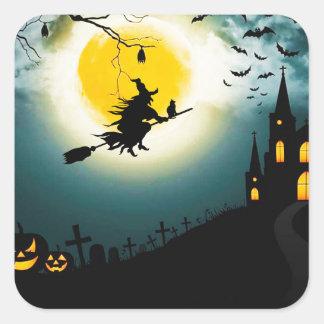 Sticker Carré Paysage de Halloween