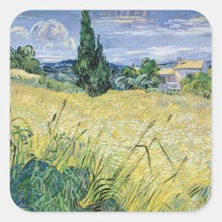 Sticker Carré Paysage de Vincent van Gogh | avec du maïs vert,