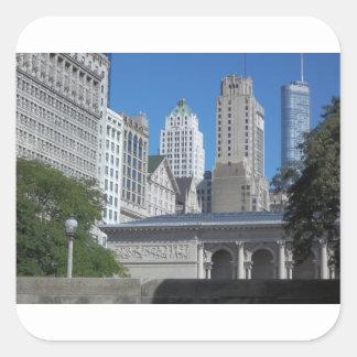 Sticker Carré Paysage urbain de Chicago