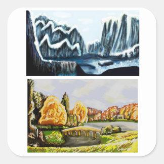 Sticker Carré paysages