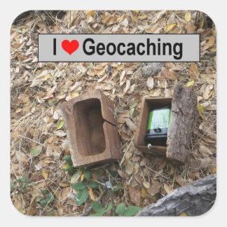 Sticker Carré Peau de boîte en bois : Geocaching