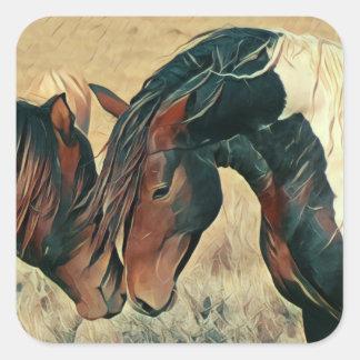 Sticker Carré Peignez les poneys