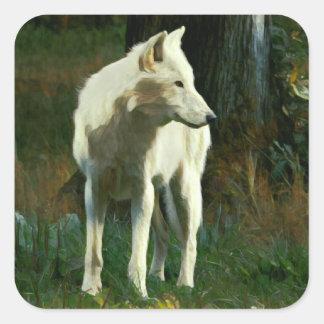 Sticker Carré Peinture de loup blanc
