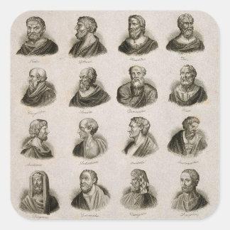 Sticker Carré Penseurs antiques de portrait de philosophes