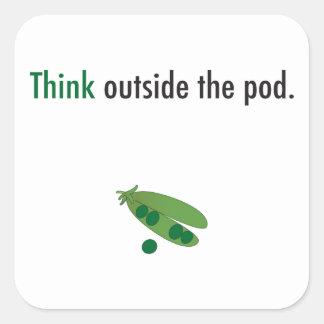 Sticker Carré pensez en dehors de l'autocollant d'inspiration de