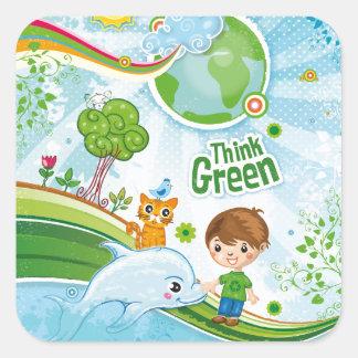 Sticker Carré Pensez la citation heureuse de conscience verte