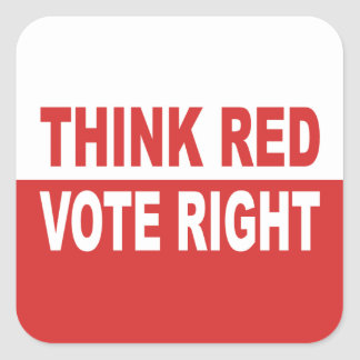 Sticker Carré Pensez la droite rouge de vote