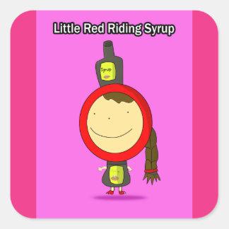 Sticker Carré Peu d'autocollants rouges de sirop d'équitation