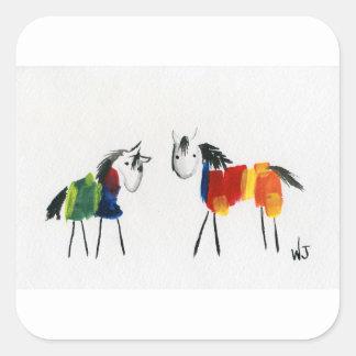 Sticker Carré Peu de poneys d'arc-en-ciel