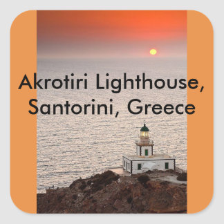 Sticker Carré Phare d'Akrotiri, Santorini, Grèce
