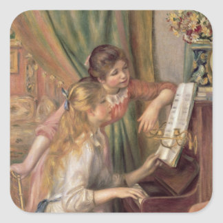 Sticker Carré Pierre jeunes filles de Renoir un | au piano