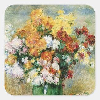 Sticker Carré Pierre un bouquet de Renoir | des chrysanthèmes