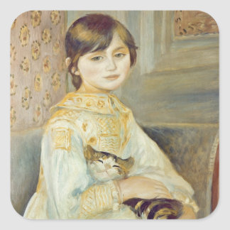 Sticker Carré Pierre un Renoir | Julie Manet avec le chat