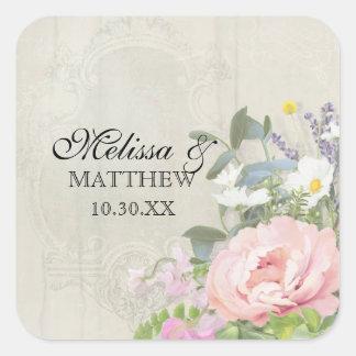 Sticker Carré Pivoine rose florale rustique de Bohème vintage en