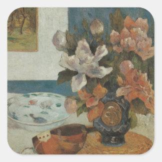 Sticker Carré Pivoines et mandoline chinoises par Paul Gauguin