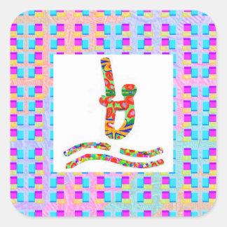 Sticker Carré Plongée, plongeur, piqué