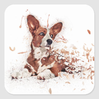 Sticker Carré Plume de corgi