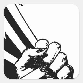 Sticker Carré Poing de puissance