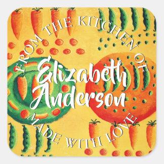 Sticker Carré Pois et carottes de la cuisine de