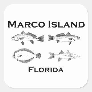 Sticker Carré Poissons de mer d'île de Marco