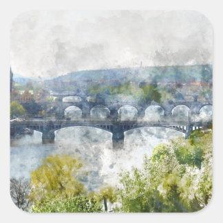Sticker Carré Ponts dans la République Tchèque de Prague