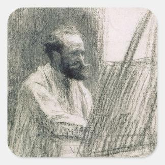 Sticker Carré Portrait de Manet | d'Edouard Manet à son chevalet