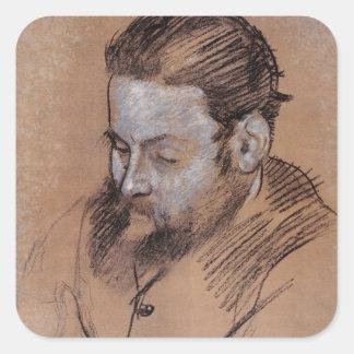 Sticker Carré Portrait d'Edgar Degas | de Diego Martelli