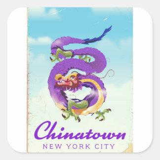 Sticker Carré Poster vintage de Chinatown New York City